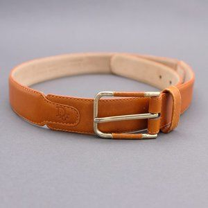 Christian Dior Leather Belt with Brass Buckle